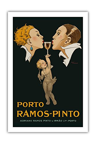 Porto Ramos-Pinto - Couple Kissing, Cupid, Glass of Port Wine - Adriano Ramos Pinto & Irmão Lda-Porto - Vintage Advertising Poster by René Vincent c.1920s - Premium 290gsm Giclée Art Print 24in x 36in