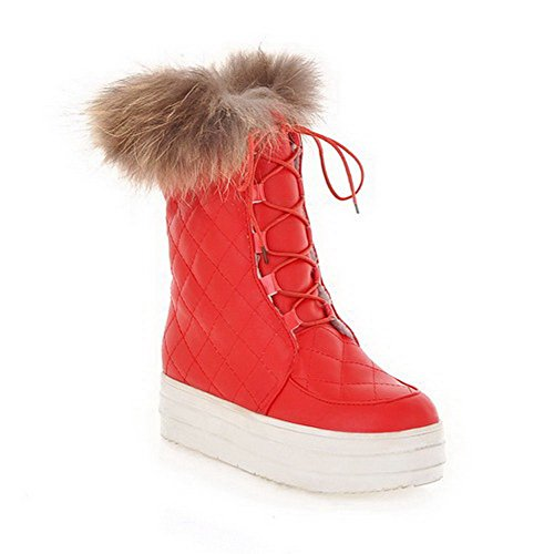 with Close Boots Womens Short US and PU B 7 Toe AmoonyFashion Low Heels Red Artificial turf Plush M Bandage Solid Round 4Pwxq5