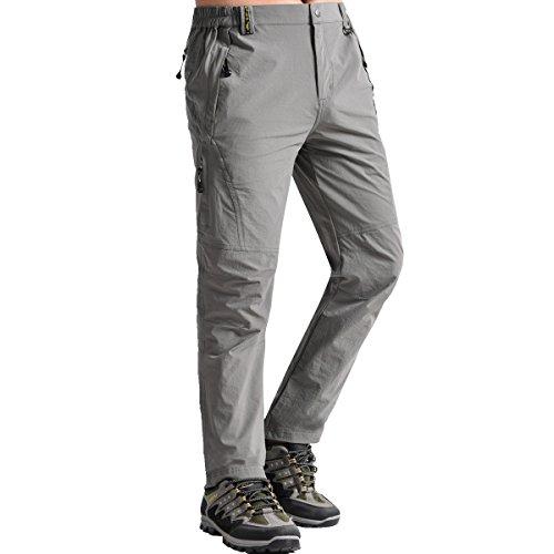 Fung-wong Men's Multi-Pocket Zip Off Pants for Outdoor Activites, Light Grey, X-Large - Multi Pocket Zip