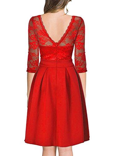Ssyiz Dentelle Vintage Floral Sur Mesure Femmes 2/3 Manches Robe De Cocktail Rouge De Demoiselle D'honneur
