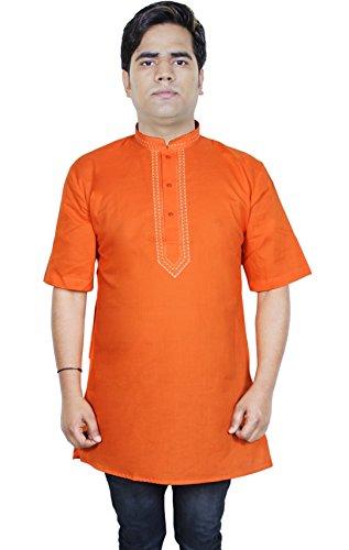 mens-casual-short-sleeve-cotton-kurta-polo-t-shirt-indian-clothing-size-xl