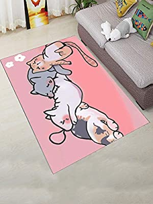 Tremendous Wbaby Living Room Floor Mat Lovely Cartoon Cat Pattern Cozy Interior Design Ideas Gresisoteloinfo