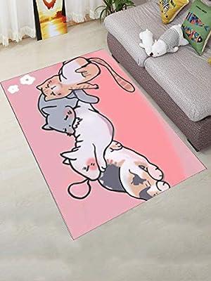 Admirable Wbaby Living Room Floor Mat Lovely Cartoon Cat Pattern Cozy Download Free Architecture Designs Fluibritishbridgeorg