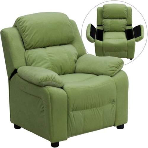 Eight24hours Deluxe Heavily Padded Contemporary Avocado Microfiber Kids Recliner with Storage