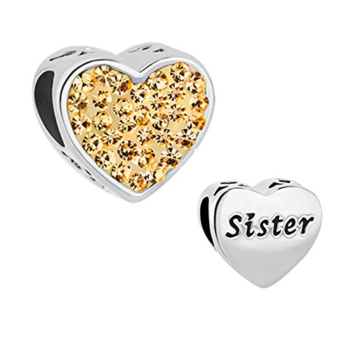Case over Matter Heart Love Charms Sister Charms Crystal Charm Beads for Snake Chain Bracelets (Yellow)