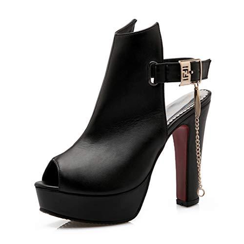 (T-JULY Women Sandals Ladies Square High Heels Summer Peep Toe Platform Slingback Shoes with Ankle Buckle Strap Black)