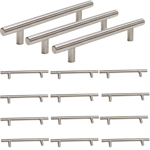 Probrico Stainless Steel Modern Cabinet Drawer Handle Pulls Kitchen Cupboard T Bar Knobs and Pull Handles Brushed Nickel - 5 Inch Hole Centers - - Nickel Brushed Link