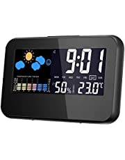 TECHVIDA Digital Alarm Clock, Multi function Time, Wireless Hygrometer Indoor Outdoor Thermometer Humidity Monitor, Date, Temperature, Humidity Percentage. Alarm Clock with Color Screen, Snooze and Light Button. Clock with Meteorological Station
