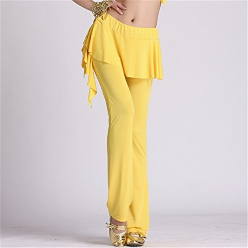 Womens Ladies Culottes Dance Pantalón Fitness Workout Pantalón Elastic Lycra Pantalón Yellow