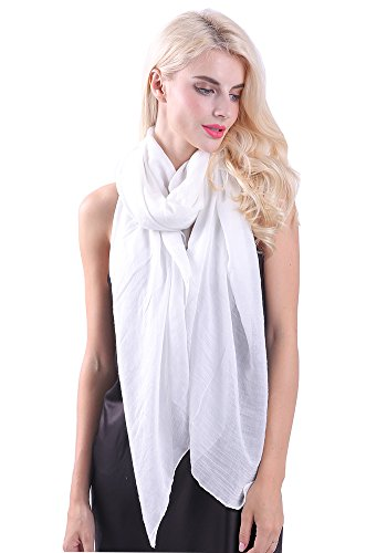 (MissShorthair Womens Long Scarf in Solid Color Large Sheer Shawl Wraps for Evening(White))
