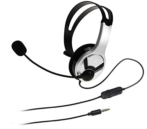 AmazonBasics Gaming Chat Headset for PlayStation 4 with Microphone - 4 Foot Cable, Silver