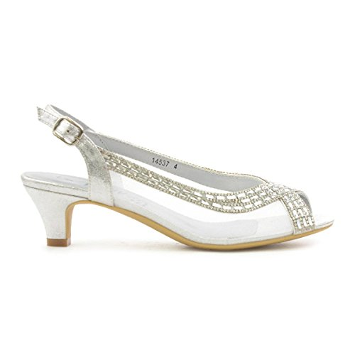 Lilley Womens Silver Open Toe Evening Shoe Multicolour Nzm8HbD