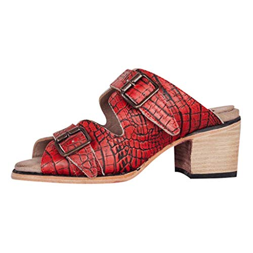 Woman PU Leather Sandals Crocodile Pattern Slingback Slippers Low Heel Roman Sandals Non Slip Outdoor Fish Mouth Slippers Shoes (Red, 9 M US)