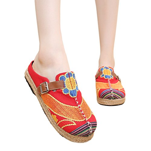 Red Casual Sole Linen Flat Slipper Bottes Home Exotic Weave Embroidery Chaussures Women Red Shoes RBOA1Fqn