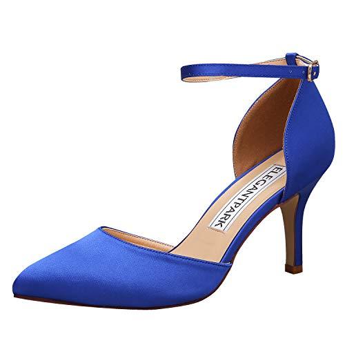 ElegantPark HC1811 Women Pointed Toe High Heel Pumps Satin Ankle Strap Wedding Bridal Evening Party Dress Shoes Blue US 8.5 ()