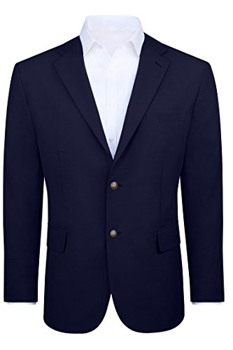 Big & Tall Men's Modern Fit 2 Button Sport Coat Blazer Jacket - Navy, 54 Regular Big Tall Blazer