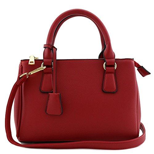 Classic Triple Zip Top Handle Mini Satchel Bag Red