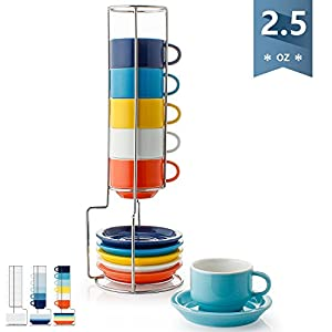 Sweese 4311 Porcelain Stackable Espresso Cups with Saucers and Metal Stand - 2.5 Ounce for Specialty Coffee Drinks, Latte, Cafe Mocha and Tea - Set of 6, Hot Assorted Colors