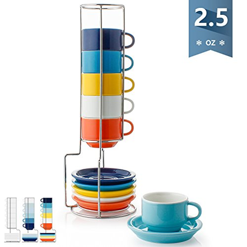Sweese 4311 Porcelain Stackable Espresso Cups with Saucers and Metal Stand - 2.5 Ounce for Specialty Coffee Drinks, Latte, Cafe Mocha and Tea - Set of 6, Hot Assorted Colors (Saucer And Cup Extra Large)