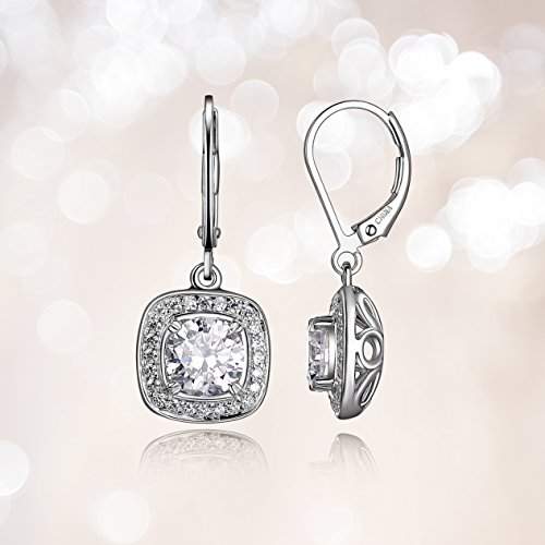 Sterling Silver Cubic Zirconia Halo Set Lever-Back Drop Earrings (2.98 cttw) by Amazon Collection
