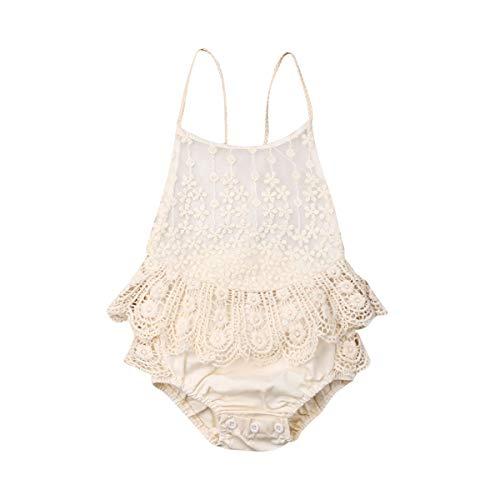 Newborn Infant Baby Girl Clothes Lace Halter Jumpsuit Romper Backless Bodysuit Sunsuit Outfits Summer Clothes Set(9-12 Months) Beige ()