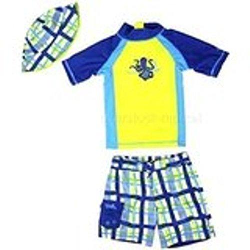 UV SKINZ Boys Three Piece Swimsuit Set, Rash Guard Shirt, Shorts & Hat (7, Octopus Plaid)