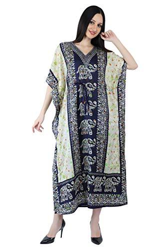 Crocon Women Long Maxi Cover Up Gamla Print Kaftan Beach Maxi Dress African Caftan Women Plus Size Swimwear (Elephant-Navy, Long)