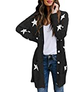 HAPCOPE Women's Star Print Button Down Knit Open Front Cardigan Sweaters with Pockets