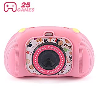 Fede Kids Digital Camera with 25 Games, Rechargeable Selfie Camera for Boys and Girls,Digital Child Camcorder with 2.4 inches Screen,HD 8MP/1080P Dual Lens,Shockproof Cameras with 32GB TF Card