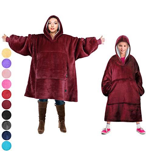(Tirrinia Blanket Sweatshirt, Super Soft Warm Comfortable Sherpa Hoodie with Giant Pocket, for Adults, Kids, Boys, Girls, Reversible, Hood, Oversized)