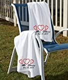 Set of Marriage Embroidered Beach Towels Wedding Bridal Gifts for Brides