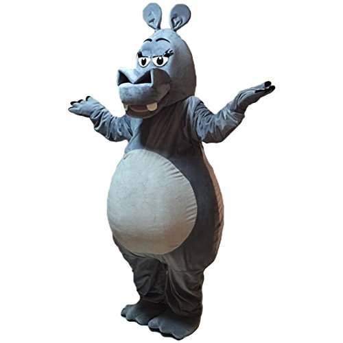 Gray Hippo Mascot Costume Real photo Langteng (TM)