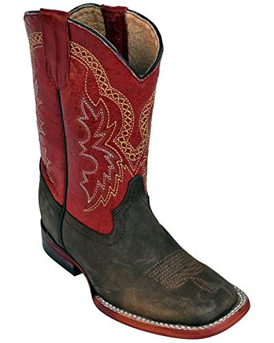 Ferrini Kids Chocolate/Red Cowhide Leather S-Toe Cowboy Boots 1