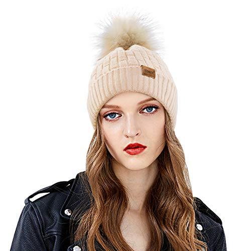 REDNITY Womens Winter Cable Knit Beanie Hat with Faux Fur Pom Pom Fleece Lined Bobble Hat Ski Cap (Beige)