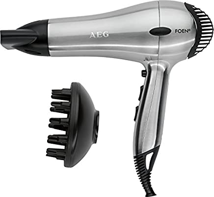 AEG HTD 5616 - Secador de pelo profesional iónico con difusor, 3 niveles de temperatura, 2 velocidades, 2200 W, color gris