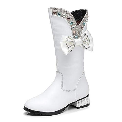 Shoes Rhinestone Genuine Leather Boots Girls Baby Party High Boots Princess Warm Plush Kids Snow Boots 02B,White,6.5 ()