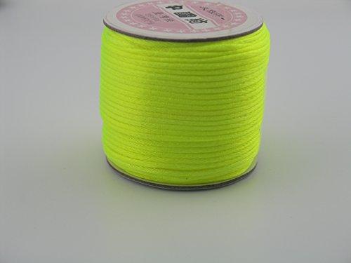 Neon Silk - KONMAY 50 Yards 2.0MM Rattail/Bugtail Satin Silk Cord Shamballa Macrame Beading Nylon Kumihimo String (Neon Yellow F228)