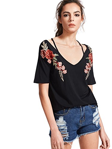 MakeMeChic Women's Rose Embroidered V Neck Short Sleeve Summer T Shirt Black L