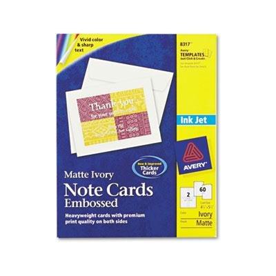 Brand New Avery Embossed Note Cards Inkjet 4-1/4 X 5-1/2 Mat