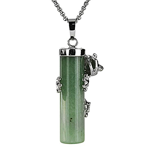Gemstone Necklace Jade (JewelrieShop Gothic Frog Cylinder Crystal Healing Point Chakra Pendant Necklace, Stainless Steel Chain)