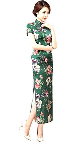 Folk Verde Maxi Abito Stile Qipao Affari Coolred donne Cheongsam Spaccato Premio qR1v4Iw