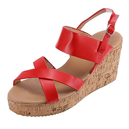 TnaIolral Ladies Boho Sandals Peep Toe Breathable Beach Bukcle Strap Casual Wedges Shoes (US:6, Red) -