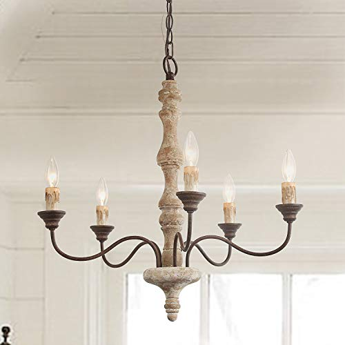 LNC Handmade Wood Chandelier, 5-Light Rust Arms French Country Chandelier for Dining Room, Bedroom, Living Room and Bathroom