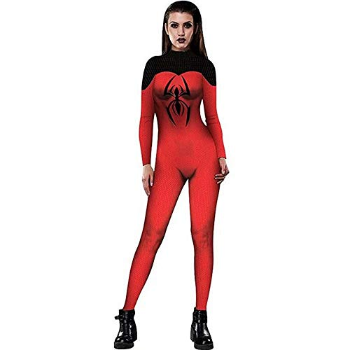 Halloween Spider-Man Bodysuit Women Skinny Stretch Costume Overall]()