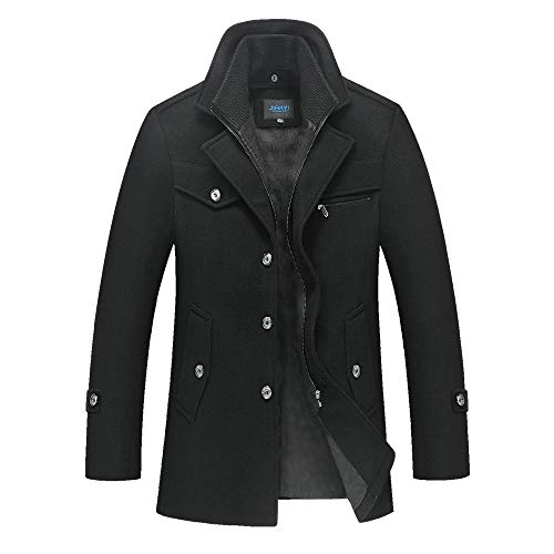 Men's Winter Warm Layered Collar Wool-Blend Peacoat Topcoat Duffel Coat (Black, 3XL)