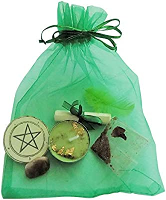 Green Occult Ritual Spell Candles Gift Pack Wicca Pagan Witch Magic