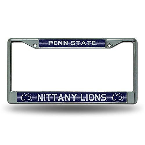 (NCAA Penn State Nittany Lions Bling Chrome License Plate Frame with Glitter Accent)