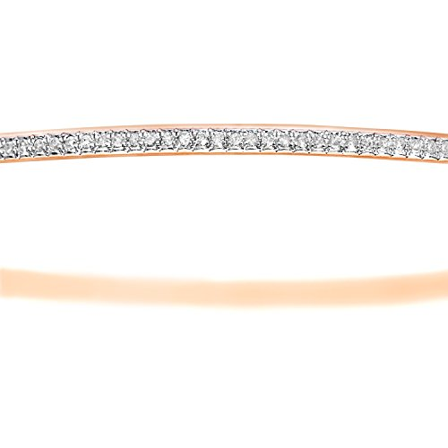 Naava - Bracelet Jonc - B1119R - Femme - Or Rose 375/1000 (9 Cts) 5.5 Gr - Diamant 0.003 Cts