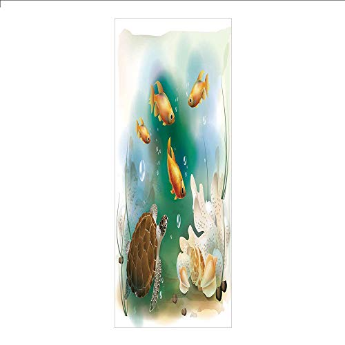 3D Decorative Film Privacy Window Film No Glue,Turtle,Artistic Ocean Life Illustration Aquarium Tropical Animals Goldfishes and Seashells,Multicolor,for Home&Office