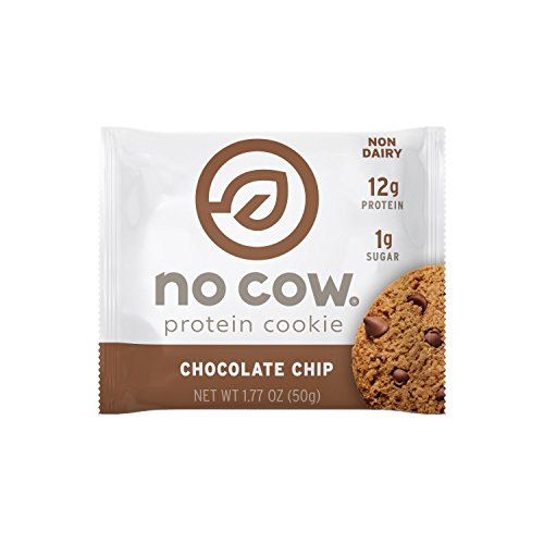 (No Cow Protein Cookie, Chocolate Chip, 12g Plant Based Protein, Low Sugar, Dairy Free, Gluten Free, Vegan, 12 Count)
